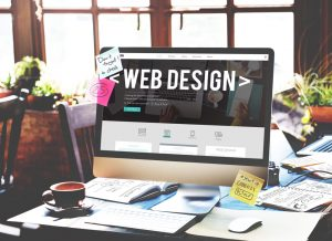 web design on computer screen